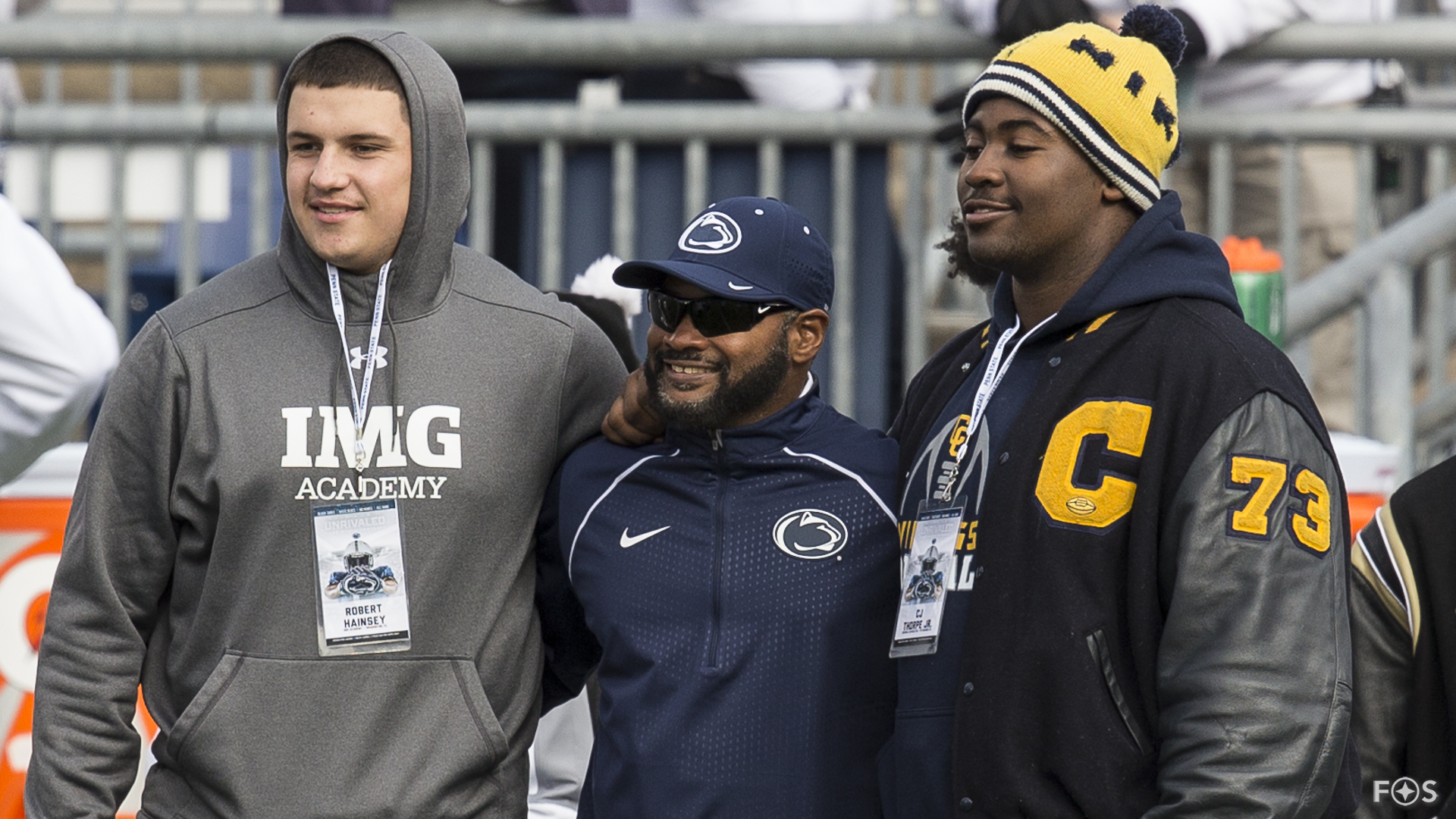 Recruits Robert Gainsay and C.J. Thorpe with Terry Smith (Harvey Levine/FOS)