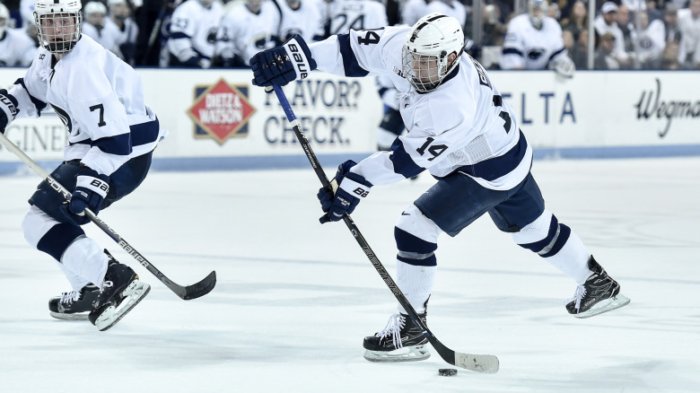 Penn State's Nate Sucese (14) during third period action with the Buckeyes.  No. 1 Penn State skated to a, 3-3, tie against No. 11 Ohio State while the Buckeyes earned the extra point with a seven-round shootout win on Jan. 20, 2016 in Pegula Ice Arena.  Photo by Mark Selders