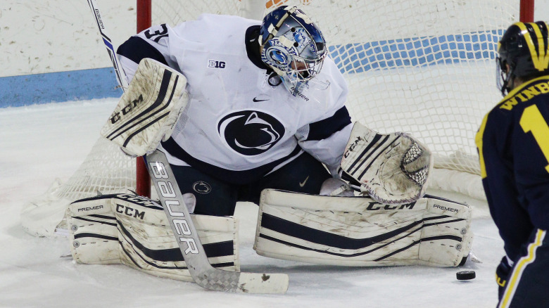 Penn State goaltender Peyton Jones (31) against Michigan in the second period on Dec. 1, 2016. No. 7 Penn State defeated No. 20 Michigan 6-1.  Photo/Craig Houtz