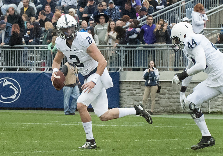 Quarterback Tommy Stevens completed 17 of 24 passes including 3 second-half touchdowns at the 2017 Blue White Game April 22 at Penn State's Beaver Stadium.