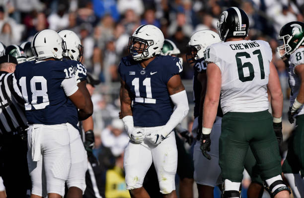 STATE COLLEGE, PA - OCTOBER 13: Penn State LB Micah Parsons (11) celebrates after a defensive stop. The Michigan State Spartans defeated the Penn State Nittany Lions 21-17 on October 13, 2018 at Beaver Stadium in State College, PA. (Photo by Randy Litzinger/Icon Sportswire via Getty Images)