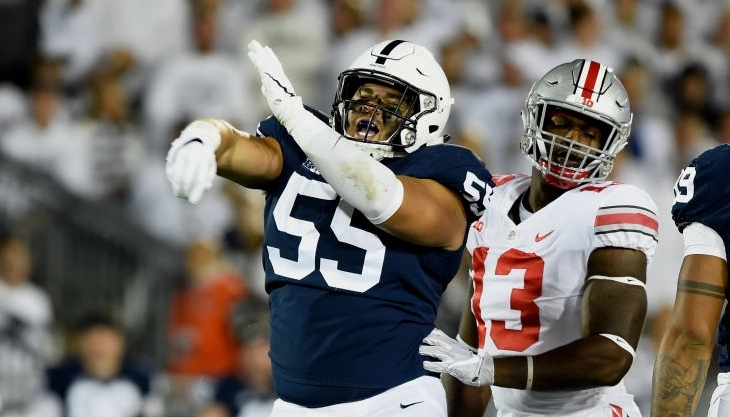 STATE COLLEGE, PA - SEPTEMBER 29: Penn State DT Antonio Shelton (55) celebrates after a defensive stop. The Ohio State Buckeyes defeated the Penn State Nittany Lions 27-26 on September 29, 2018 at Beaver Stadium in State College, PA. (Photo by Randy Litzinger/Icon Sportswire via Getty Images)