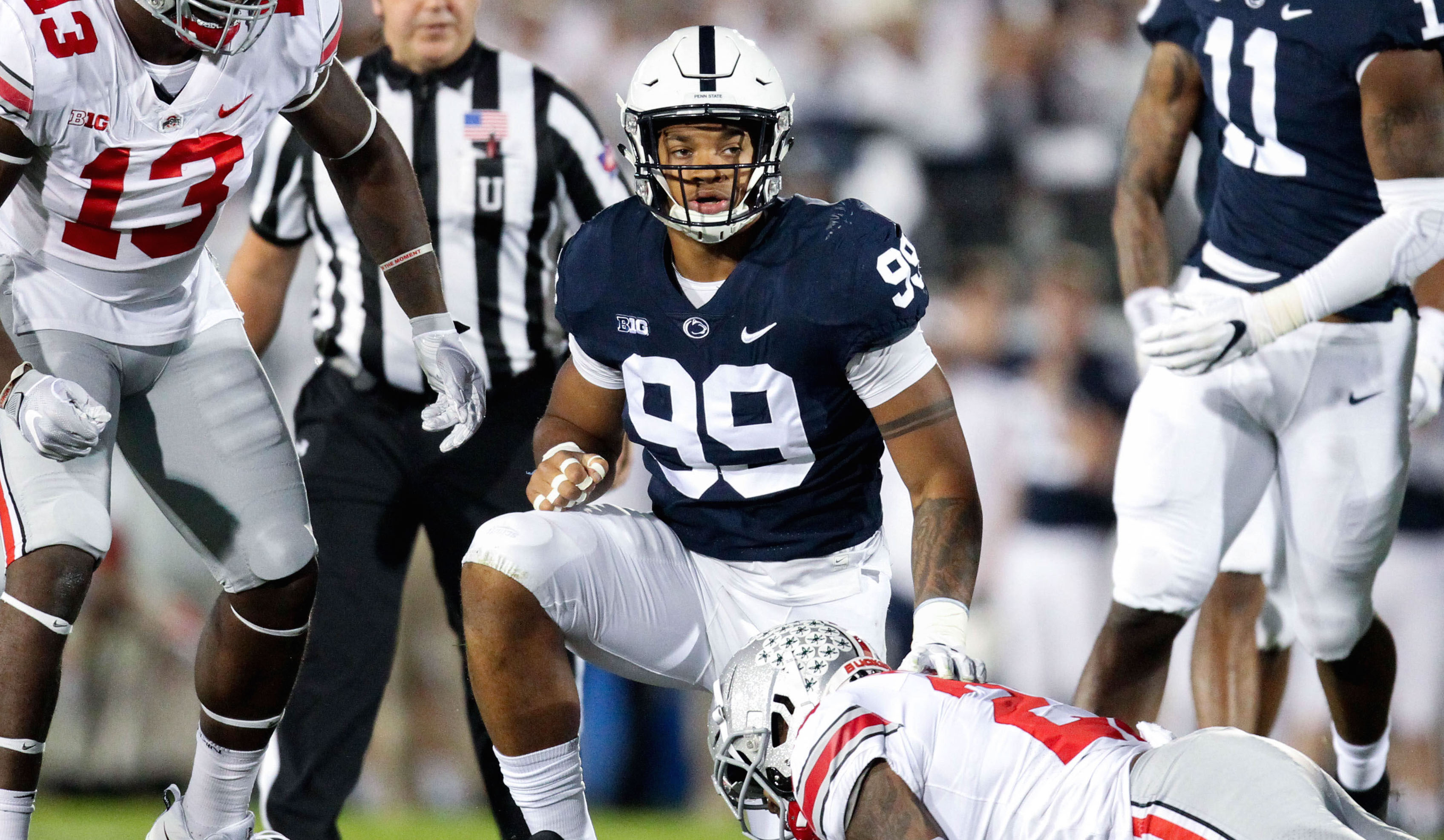 Sep 29, 2018; University Park, PA, USA; Penn State Nittany Lions defensive end Yetur Gross-Matos (99) following a tackle during the first quarter against the Ohio State Buckeyes at Beaver Stadium. Ohio State defeated Penn State 27-26. Mandatory Credit: Matthew O'Haren-USA TODAY Sports