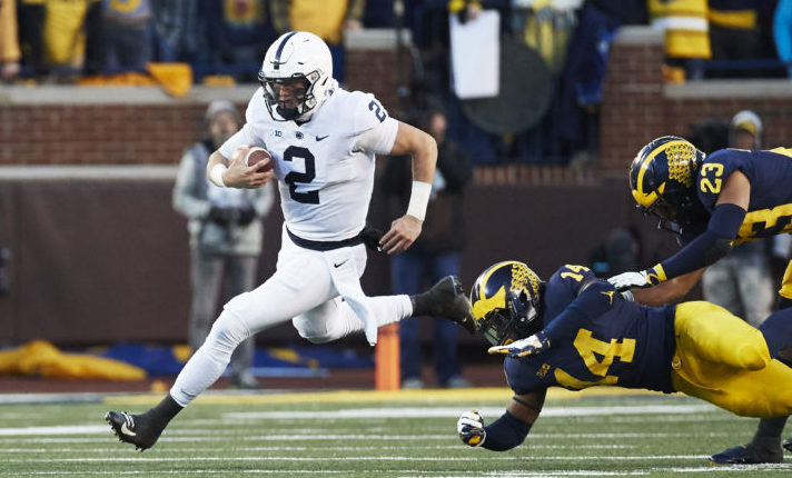Nov 3, 2018; Ann Arbor, MI, USA; Penn State Nittany Lions quarterback Tommy Stevens (2) rushes past Michigan Wolverines defensive back Josh Metellus (14) at Michigan Stadium. Mandatory Credit: Rick Osentoski-USA TODAY Sports