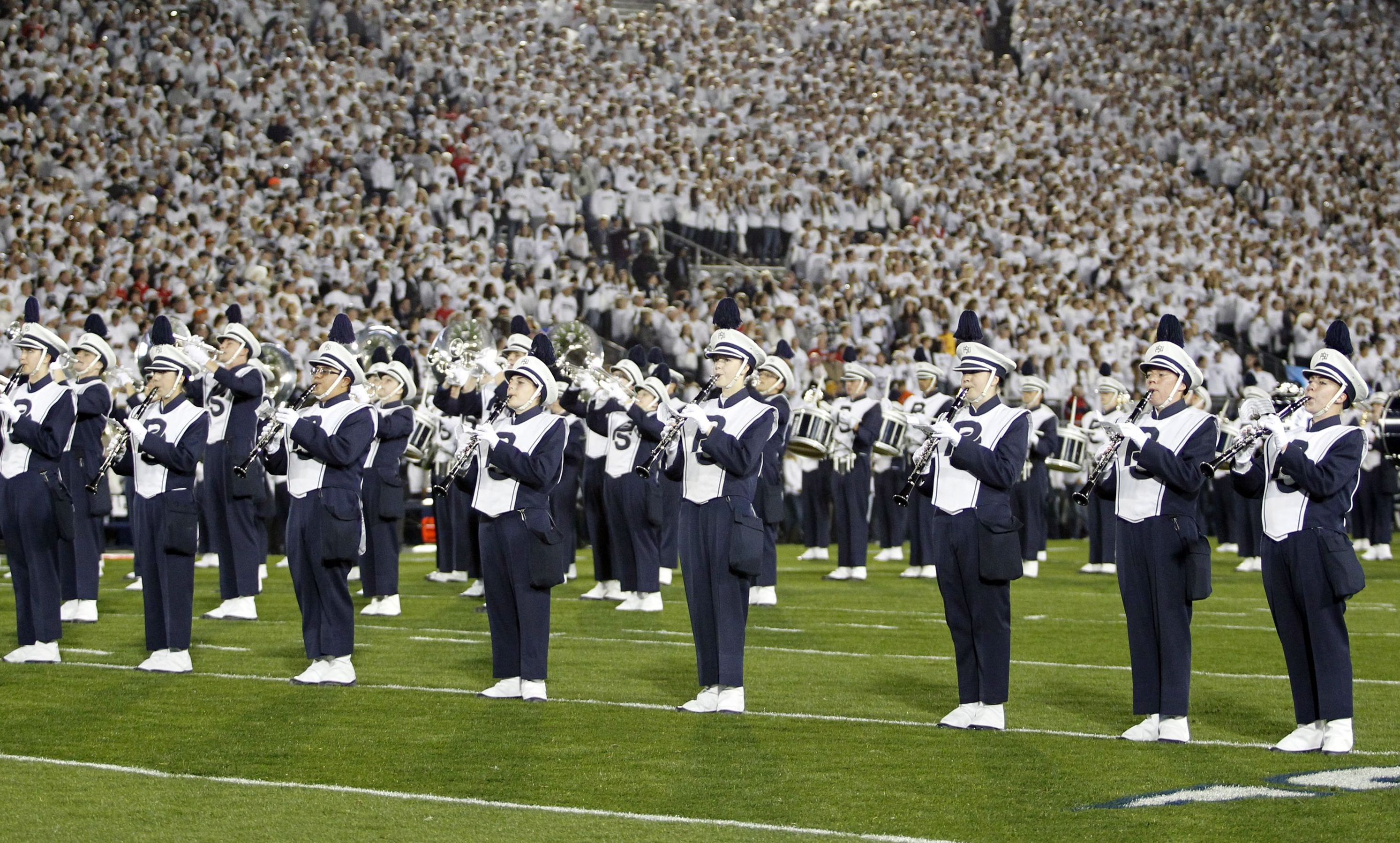 STATE COLLEGE, PA - OCTOBER 25:  The Penn State Nittany Lions marching band performs during the game against the Ohio State Buckeyes on October 25, 2014 at Beaver Stadium in State College, Pennsylvania.  (Photo by Justin K. Aller/Getty Images)