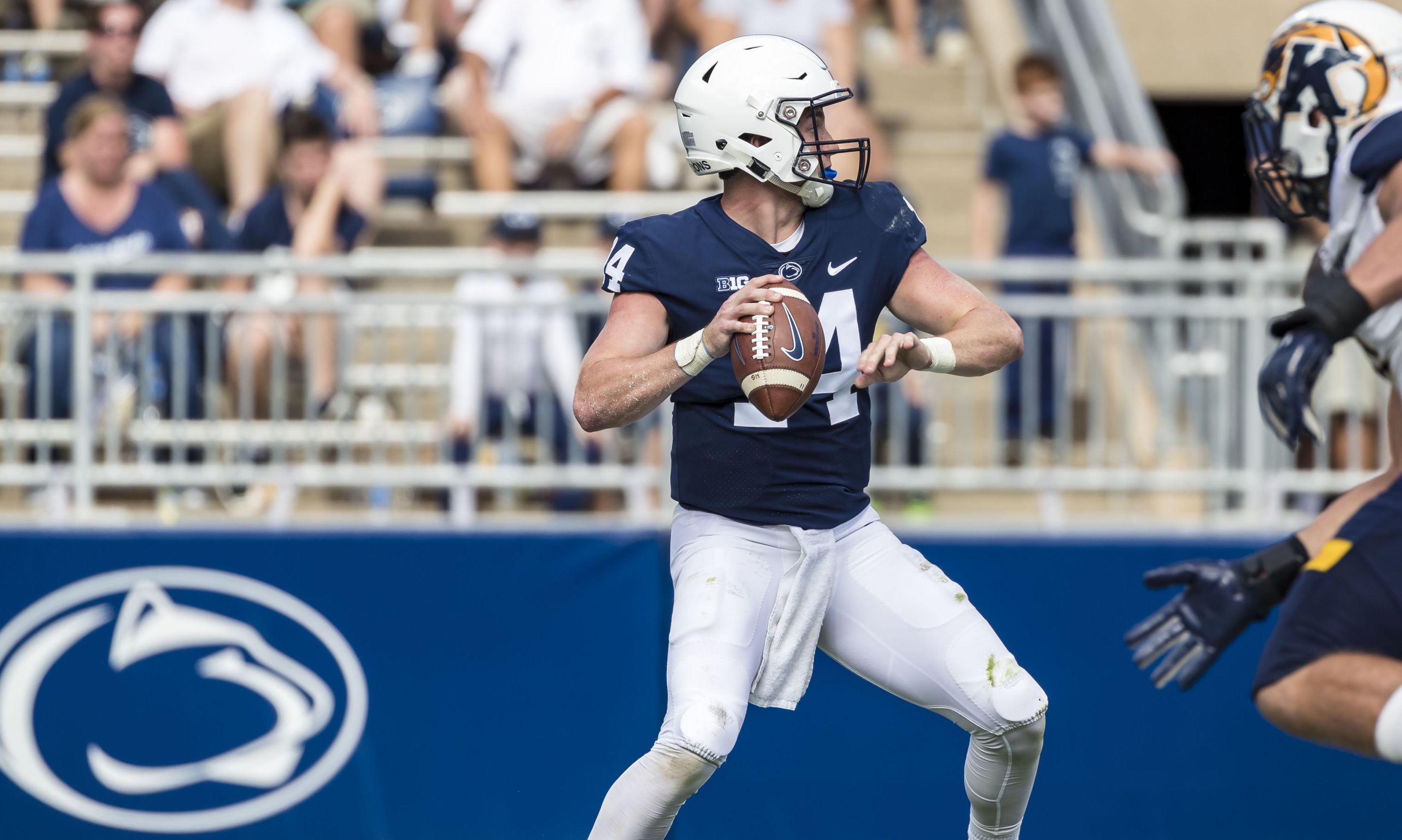 STATE COLLEGE, PA - SEPTEMBER 15: Sean Clifford #14 of the Penn State Nittany Lions throws a pass for a touchdown against the Kent State Golden Flashes during the second half at Beaver Stadium on September 15, 2018 in State College, Pennsylvania.  (Photo by Scott Taetsch/Getty Images)